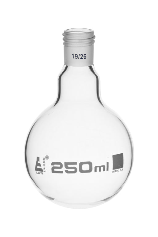 Boiling Flask with 19/26 Joint, 250ml Capacity, Round Bottom, Interchangeable Screw Thread Joint, Borosilicate Glass - Eisco Labs