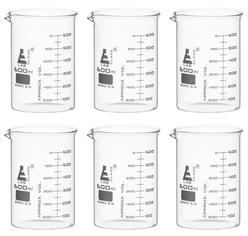 6PK Beakers, 600ml - ASTM - Low Form, Dual Scale Graduations - Borosilicate Glass
