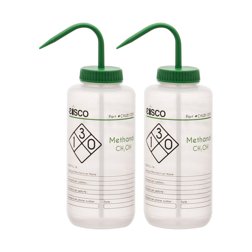 2PK Performance Plastic Wash Bottle, Methanol, 1000 ml - Labeled (2 Color)