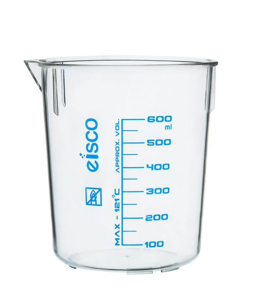Beaker, 600ml, TPX Plastic, with Spout - Blue Graduations - Eisco Labs