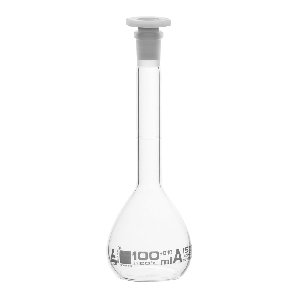 Volumetric Flask, 100ml - Class A - 14/23 Polypropylene Stopper, Borosilicate Glass - White Graduation, Tolerance ±0.100 - Eisco Labs