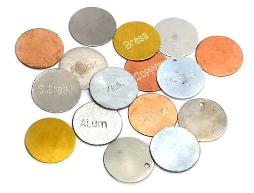 Set of Metal Discs (Set of 16), Metal Identification Kit, Magnetic and Non-Magnetic, Educational - Eisco Labs