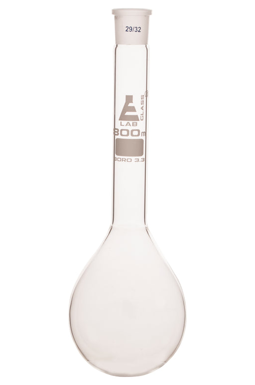 Kjeldahl Flask, 800ml - Borosilicate Glass - Glass Stopper, 29/32 Socket Size - Long Neck, Round Bottom - Eisco Labs