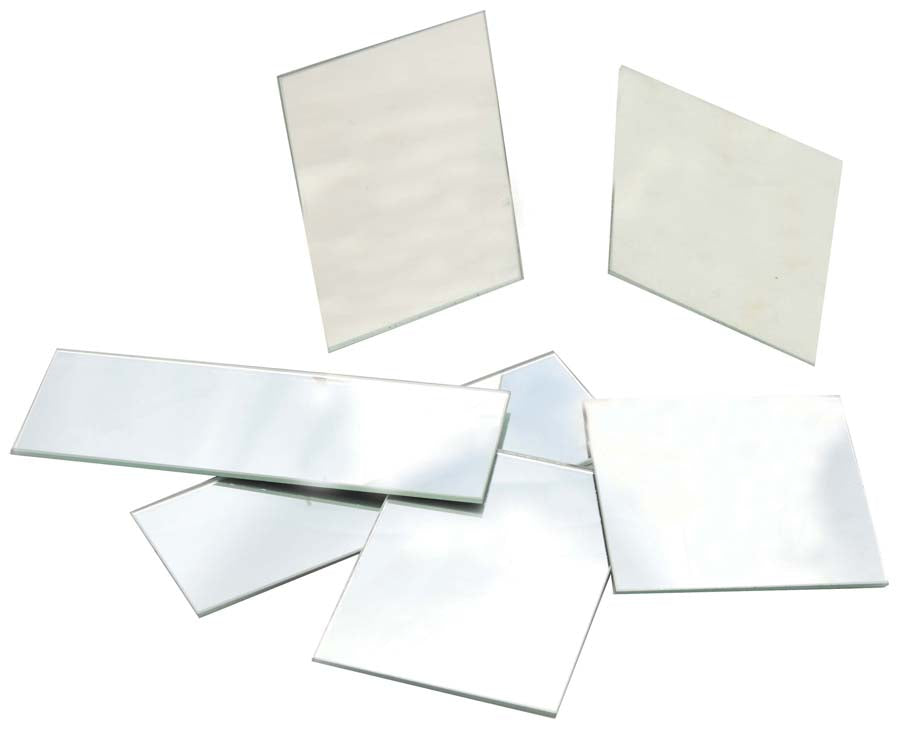 "10 Pack Rectangular Plano Glass Mirror, 4"" x 3"" - 2.5mm Thick Approx. - Eisco Labs"