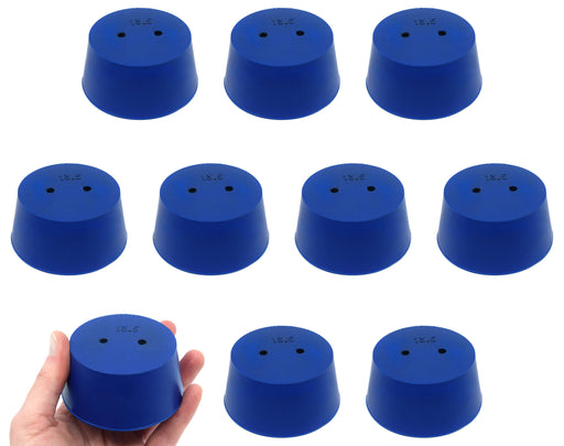 10PK Neoprene Stoppers, 2 Holes - ASTM - Size #13.5 - 62mm Bottom, 75mm Top, 35mm Length