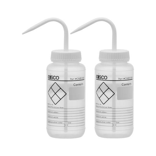 2PK Chemical Wash Bottle, Blank Labels, 500ml