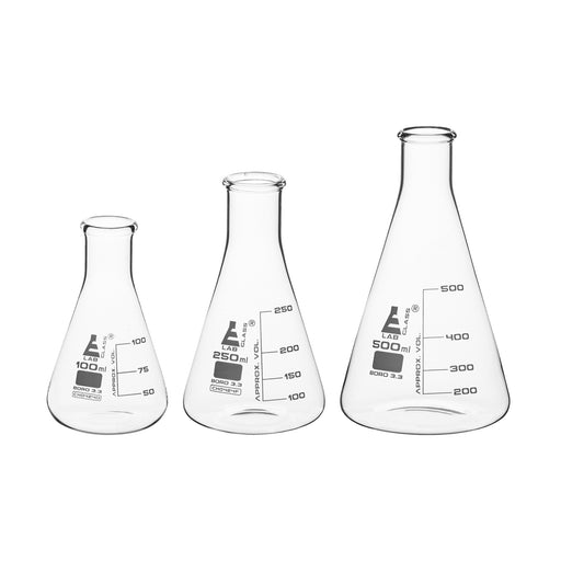 Premium Flask Set, 100, 250 & 500ml - Borosilicate Glass