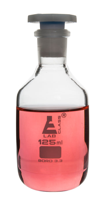 125mL (4.2oz) Glass Reagent Bottle with Acid Proof Polypropylene Stopper, Borosilicate 3.3 Glass - Eisco Labs