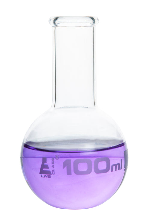 Boiling Flask, 100ml - Borosilicate Glass - Flat Bottom, Narrow Neck - Eisco Labs