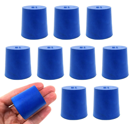 Neoprene Stoppers, Solid Blue - Size: 31mm Bottom, 36mm Top, 35mm Length - Pack of 10