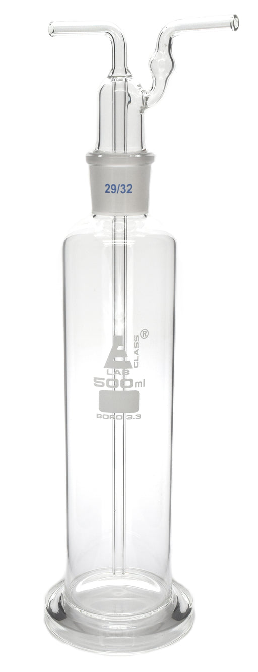 Drecshel's Bottle for Gas Washing, 500ml, Interchangeable Joint Head 29/32, Borosilicate 3.3 Glass - Eisco Labs