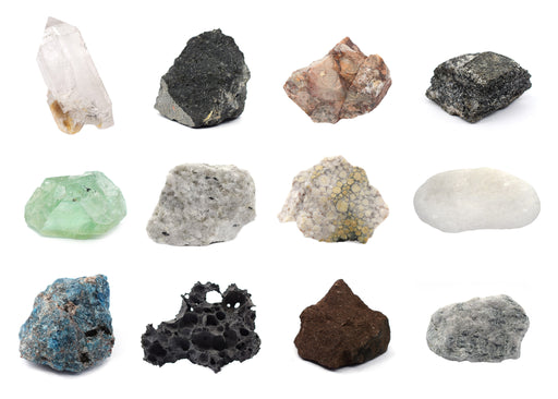 Tech Cut Rock & Mineral Kit, Set of 12 Specimens - Includes Storage Box and Identification Card