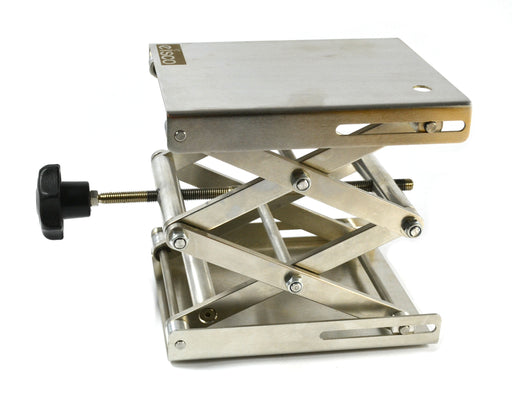 "Eisco Labs Stainless Steel Lab Jack - 8x8"" Surface - 11"" max height - Dynamic Load - 7kg Static Strength - 30kg"