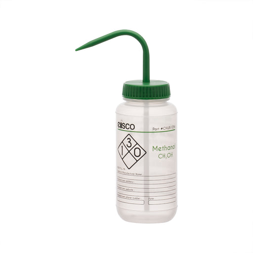 Wash Bottle for Methanol, 500ml - Labeled (2 Color)