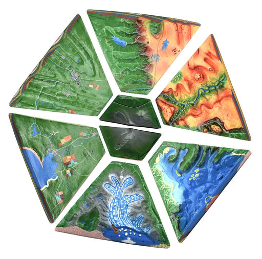 Landform Model Set, 37 Inch, Set of 8 - Cross-Sectional, 3 Dimensional - Investigate Geographical and Geological Features - Hand Painted, Full Color - Includes Detailed Lesson Plan -  Eisco Labs