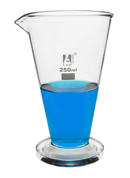 Conical Measuring Cup, 250ml - Borosilicate Glass - Spout, Round Base - Ungraduated - Eisco Labs