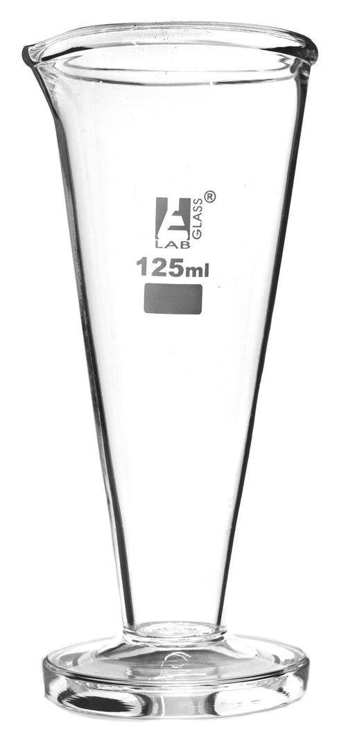 Conical Measuring Cup, 125ml - Borosilicate Glass - Spout, Round Base - Ungraduated - Eisco Labs