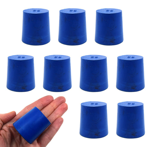 Neoprene Stoppers, Solid Blue - Size: 33mm Bottom, 38mm Top, 38mm Length - Pack of 10