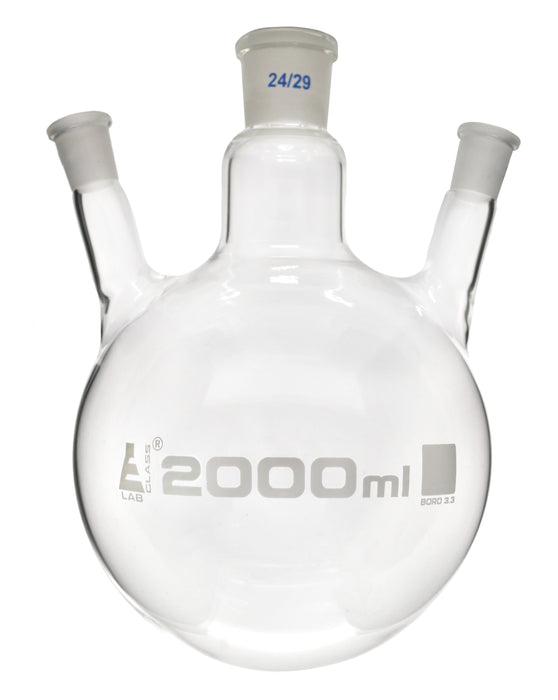 Distilling Flask, 2000ml - 3 Angled Necks, 24/29 Center, 19/26 Side Sockets - Interchangeable Ground Joints - Round Bottom - Borosilicate Glass - Eisco Labs