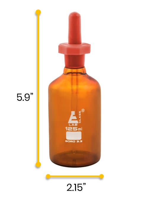 Dropping Bottle, 125ml (4.2oz) - Eye Dropper Pipette - Amber Borosilicate 3.3 Glass