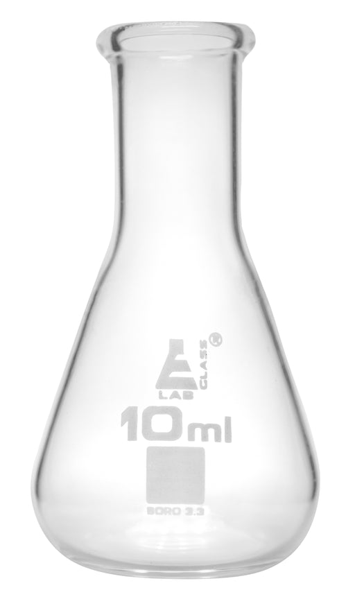 Erlenmeyer Flask, 10ml - Borosilicate Glass - Narrow Neck, Conical Shape - White Graduations - Eisco Labs