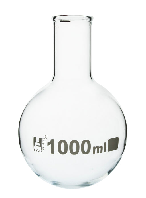 "Boiling Flask, 1000ml - Borosilicate Glass - Round Bottom, Narrow Neck (1.55"" ID) - Eisco Labs"