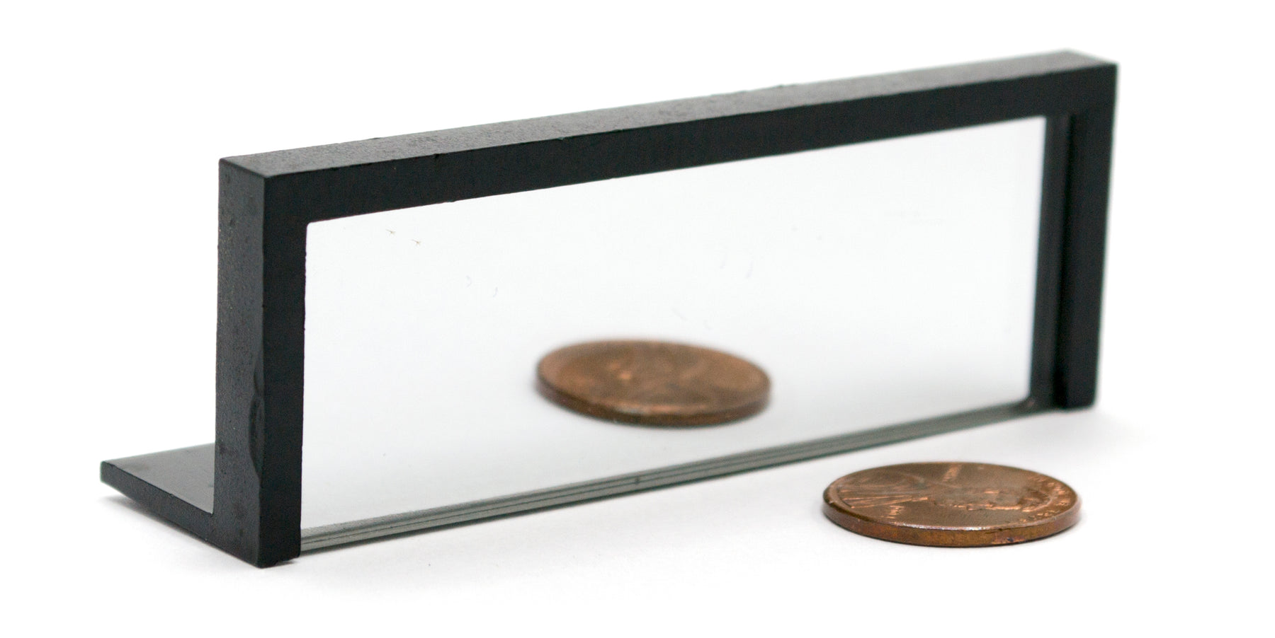 "Glass Rectangular Mirror (2.8"" x .93"") on Plastic Stand - Perfect for Laser and Ray Experiments"