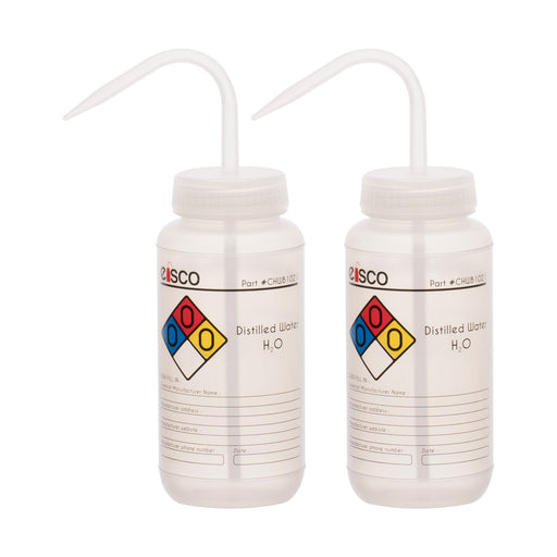 2PK Performance Plastic Wash Bottle, Distilled Water, 500 ml - Labeled (4 Color)