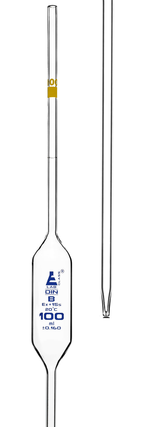 Bulb Form Pipette, 100ml - Class B, Tolerance ±0.160 - Blue Graduations - Color Code, Yellow - Borosilicate Glass - Eisco Labs