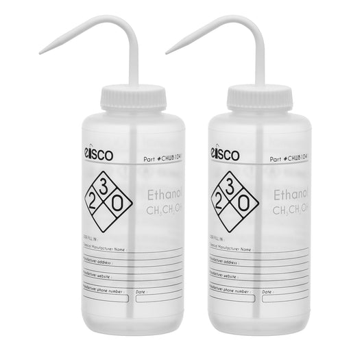2PK Performance Plastic Wash Bottle, Ethanol, 1000 ml - Labeled (2 Color)