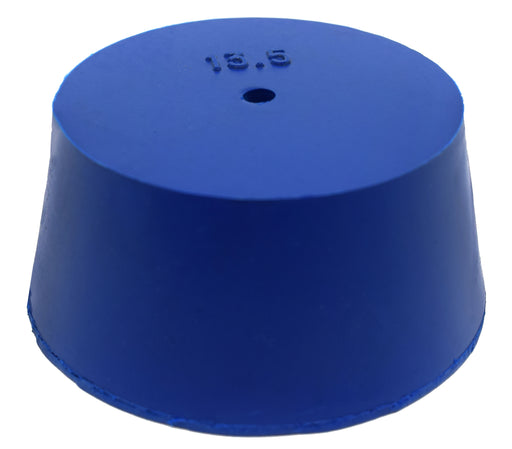 Neoprene Stopper, ASTM - Pack of 10 - 1 Hole - Blue, Size #13.5: 62mm Bottom, 75mm Top, 35mm Length - Eisco Labs