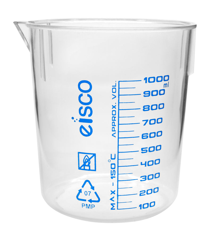 Beaker, 1000ml, TPX Plastic, with Spout - Blue Graduations - Eisco Labs