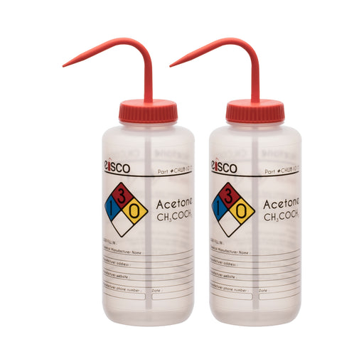 2PK Performance Plastic Wash Bottle, Acetone, 1000 ml - Labeled (4 Color)