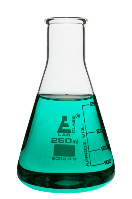 Erlenmeyer Flask, 250ml - Borosilicate Glass - Narrow Neck, Conical Shape - White Graduations - Eisco Labs