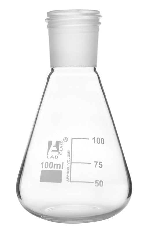 Erlenmeyer Flask with 24/29 Joint, 100ml - 25ml White Graduations - Interchangeable Screw Thread Joint - Borosilicate Glass - Eisco Labs