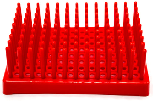 (Pack of 2) Red Plastic Test Tube Peg Drying Rack Holds 96 13mm Test Tubes - Eisco Labs