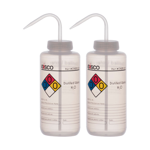 2PK Performance Plastic Wash Bottle, Distilled Water, 1000 ml - Labeled (4 Color)