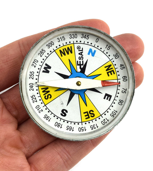 "Plotting Compass, Glass Face, Aluminum Casing, 2"" Diameter, Dial Marked - Eisco Labs"