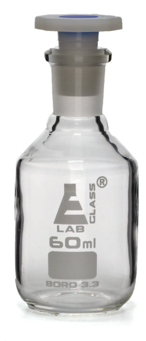 60mL (2oz) Glass Reagent Bottle with Acid Proof Polypropylene Stopper, Borosilicate 3.3 Glass - Eisco Labs
