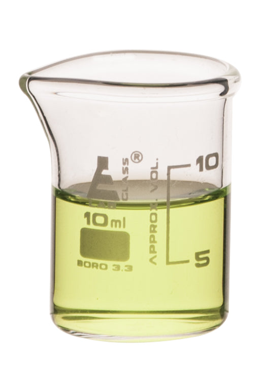 Beaker, 10ml - ASTM - Low Form with Spout - White Graduations - Borosilicate 3.3 Glass - Eisco Labs