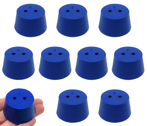 10PK Neoprene Stoppers, 2 Holes - ASTM - Size #9 - 37mm Bottom, 45mm Top, 25mm Length