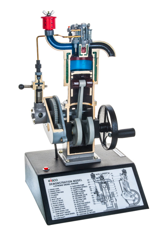 "4 Stroke Diesel Hand Crank Model with Actuating Movable Parts to Demonstrate Engine Basics - 16"" Tall - Eisco Labs"