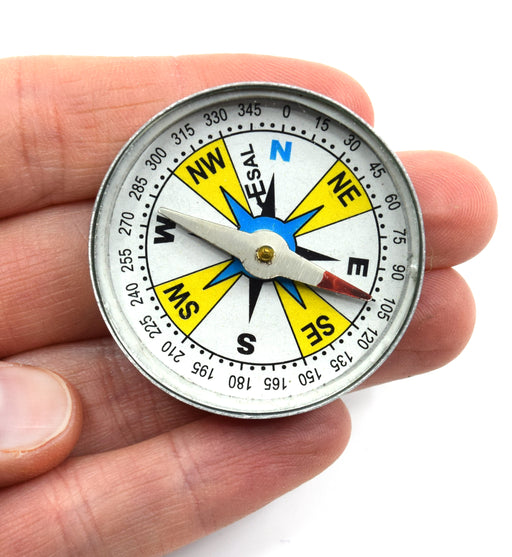"Plotting Compass, Glass Face, Aluminum Casing, 1.5"" Diameter, Dial Marked - Eisco Labs"