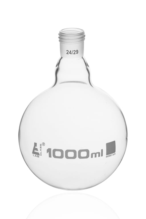 Boiling Flask with 24/29 Joint, 1000ml - Round Bottom, Interchangeable Screw Thread Joint - Borosilicate Glass - Eisco Labs