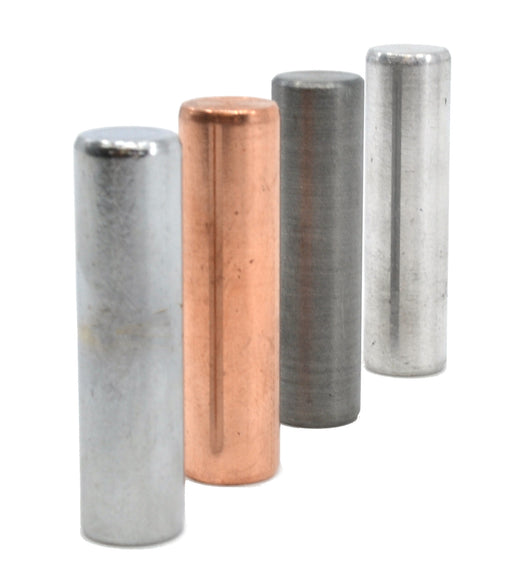 4pc Metal Cylinder Set, Aluminum, Zinc, Copper & Steel - 1.5 x 0.4""