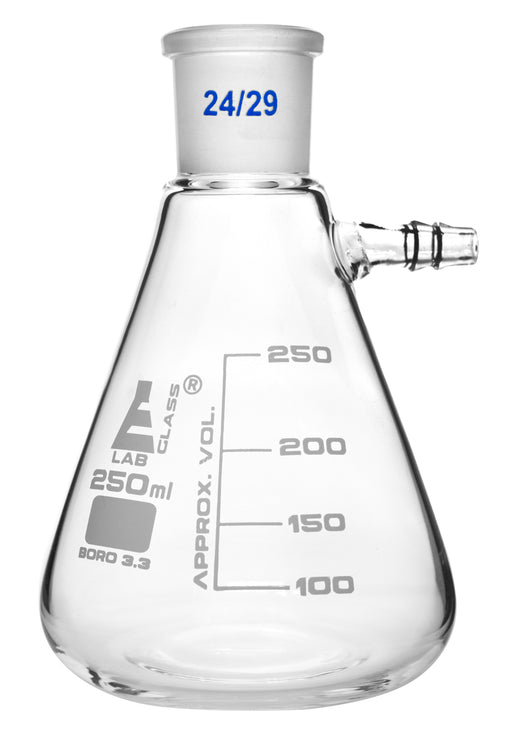 Buchner Filtering Flask, 250ml - Socket Size 24/29 -  Interchangeable Joint - Side Arm - Borosilicate Glass - Eisco Labs