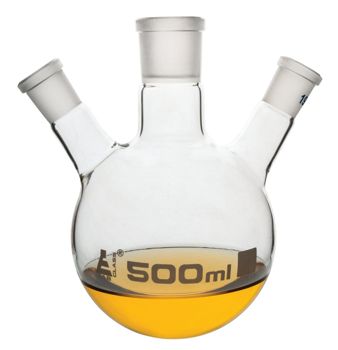 Distilling Flask, 500ml - 3 Angled Necks, 24/29 Center, 19/26 Side Sockets - Interchangeable Ground Joints - Round Bottom - Borosilicate Glass - Eisco Labs