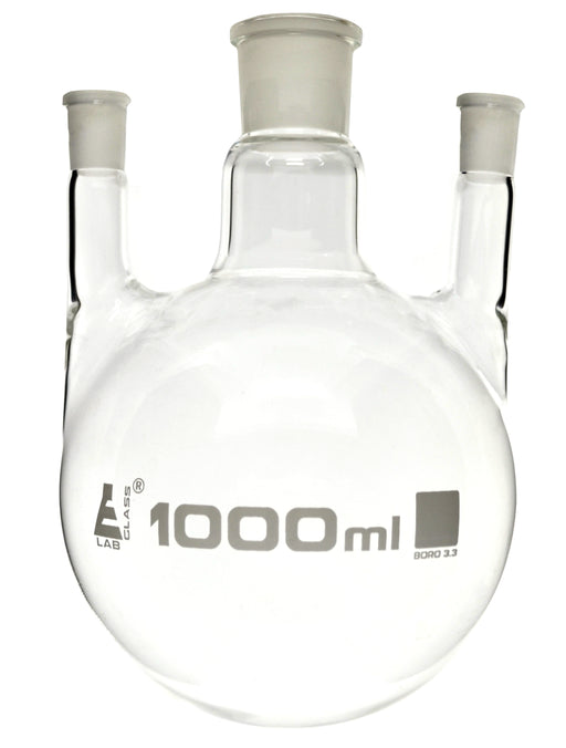 Distilling Flask, 1000ml - 3 Parallel Necks, 24/29 Center, 19/26 Side Sockets - Interchangeable Ground Joints - Round Bottom - Borosilicate Glass - Eisco Labs