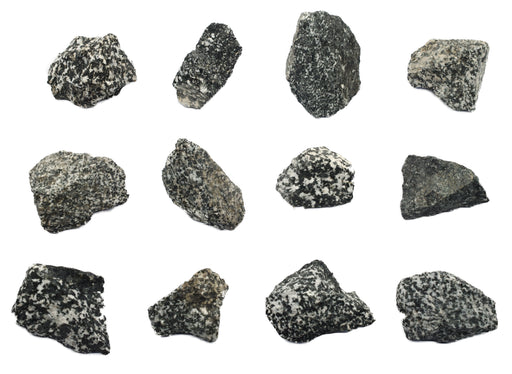 12 Pack - Raw Diorite, Igneous Rock Specimens - Approx. 1""