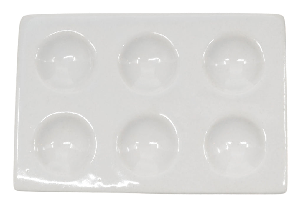 Spot Plate, 4 Inch - 6 Wells - Porcelain - Eisco Labs